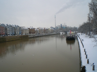 The Neckar river running through Stuttgart