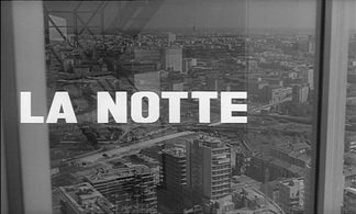 Still from the opening credits of Antonioni's La notte featuring the reflective facade of the Pirelli Building.