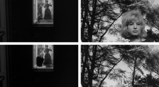 Four stills from Antonioni's L'eclisse demonstrating temps mort.