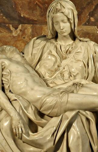 Detail of Michelangelo's Pietà, San Pietro, Rome (1499)